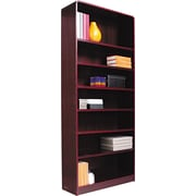 Alera 7-Shelf Radius Corner Wood Veneer  Bookcase, Mahogany