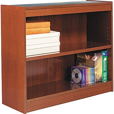 Alera 2-Shelf Square Corner Wood Veneer  Bookcase, Medium Cherry