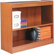 Alera 2-Shelf Square Corner Wood Veneer  Bookcase, Medium Oak