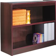 Alera 2-Shelf Square Corner Wood Veneer Bookcase, Mahogany