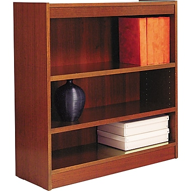 Alera 3 shelf square corner wood veneer bookcase medium cherry 3 shelves staples - Staples corner storage ...