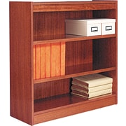 Alera 3-Shelf Square Corner Wood Veneer  Bookcase, Medium Oak, 3 Shelves