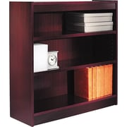 Alera 3-Shelf Square Corner Wood Veneer  Bookcase, Mahogany, 3 Shelves
