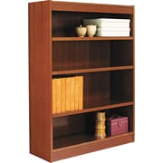 Alera 4-Shelf Square Corner Wood Veneer  Bookcase, Medium Cherry