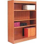 Alera 4-Shelf Square Corner Wood Veneer  Bookcase, Medium Oak