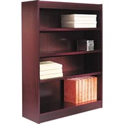 Alera 4-Shelf Square Corner Wood Veneer Bookcase, Mahogany