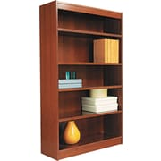 Alera 5-Shelf Square Corner Wood Veneer Bookcase, Medium Cherry