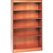 Alera 5-Shelf Square Corner Wood Veneer Bookcase, Medium Oak