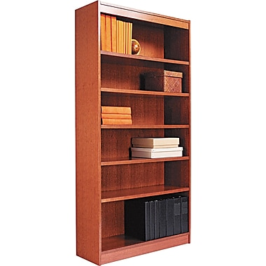 Alera 7-Shelf Square Corner Wood Veneer Bookcase, Medium Cherry