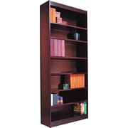 Alera 7-Shelf Square Corner Wood Veneer  Bookcase, Medium Oak