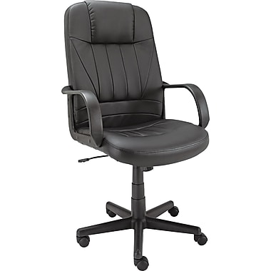 Alera ALESP41LS10B Sparis Leather High-Back Executive Chair with Fixed Arms, Black