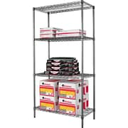 Alera Industrial Wire Shelving, 4 Shelves, Black Anthracite, 72H x 36W x 18D
