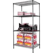 Alera Industrial Wire Shelving, 4 Shelves, Black Anthracite, 72H x 36W x 24D