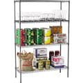 Alera Industrial Wire Shelving, 4 Shelves, Black Anthracite, 72in.H x 48in.W x 18in.D