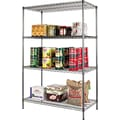 Alera Industrial Wire Shelving, 4 Shelves, Black Anthracite, 72in.H x 48in.W x 24in.D