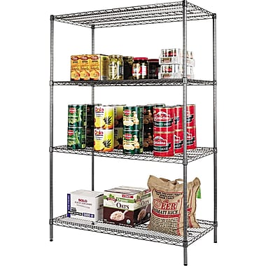 Alera Industrial Wire Shelving, 4 Shelves, Black Anthracite, 72