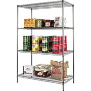 Alera Industrial Wire Shelving, 4 Shelves, Black Anthracite, 72H x 48W x 24D