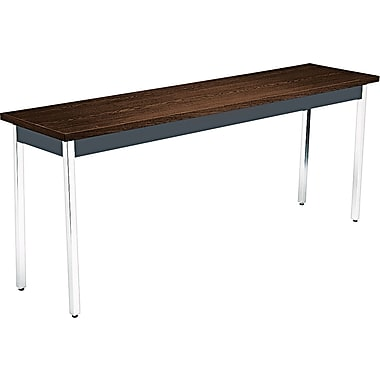 HON 6' Non-Folding Laminate Utility Table, Columbian Walnut/Black, 18in.W