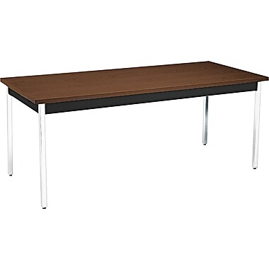 HON® 6' Non-Folding Laminate Utility Table, Columbian Walnut/Black, 30