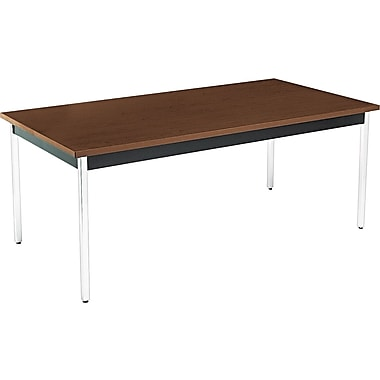 HON 6' Non-Folding Laminate Utility Table, Columbian Walnut/Black, 36in.W