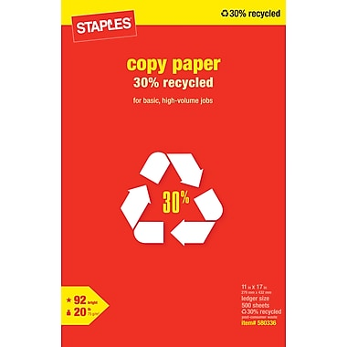 Staples® 30% Recycled Copy Paper, 11in. x 17in.,  Ream