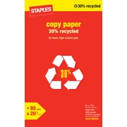 Staples® 30% Recycled Copy Paper, 8 1/2 x 14,  Ream