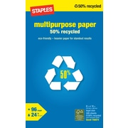 Staples® 50% Recycled Multipurpose Paper, 8 1/2 x 14, Ream