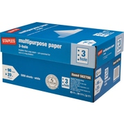 Staples® Multipurpose Paper, 8 1/2 x 11, 3-HOLE PUNCHED, Case