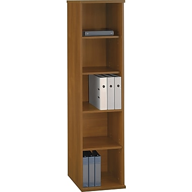 Bush Westfield 5-Shelf Space-Saver Bookcase, Cafe Oak