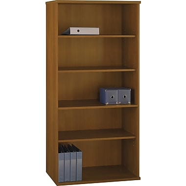 Bush Westfield 36in.W 5 Shelf Bookcase, Cafe Oak, Installed