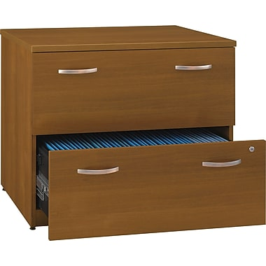 Bush Westfield 36in.W 2Dwr Lateral File, Cafe Oak, Pre-Assembled