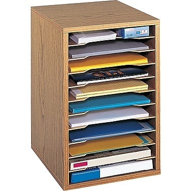 Safco® Vertical Desktop Sorter, 11 Compartment, Oak
