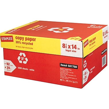 Staples® 30% Recycled Copy Paper, 8 1/2in. x 14in.,  Case