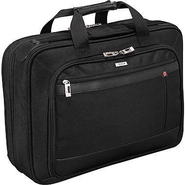 SOLO® Smart Strap™ Portfolio Laptop Case, Black, 15.4in.