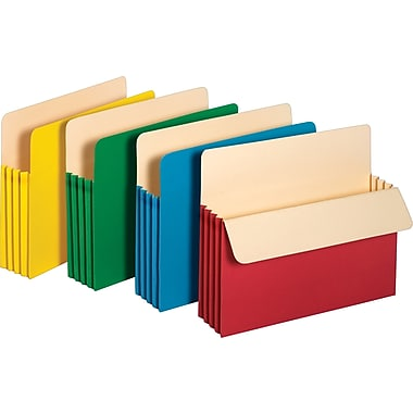 Staples Colored Expanding File Pockets, 3 1/2in. Expansion, Letter, Assorted, 5/Pack
