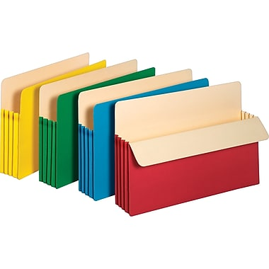 Staples Colored Expanding File Pockets, 3 1/2in. Expansion, Legal, Assorted, 5/Pack