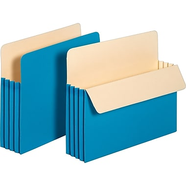 Staples Colored Expanding File Pockets, 3 1/2in. Expansion, Letter, Blue, 25/Pack