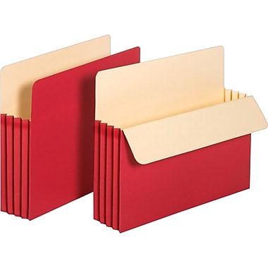 Staples Colored Expanding File Pockets, 3 1/2in. Expansion, Letter, Red, 25/Pack