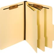 Staples® Manila Classification Folders, Letter, 2/5-Cut Top Tabs, 2 Partitions, 10/Box (98602S)