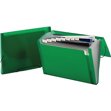 Staples® Poly Colors Expanding Files, Green, Letter, Each