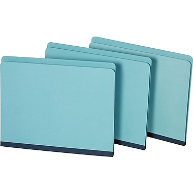 Staples Pressboard File Folders, Letter, Single Tab, Blue, 25/Box