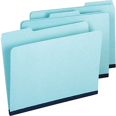 Staples Pressboard File Folders, Letter, 3 Tab, Blue, 25/Box