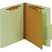 Staples® Colored Pressboard Classification Folders, 2/5 Cut Top Tab, 1 Partitions, 5/Pack (PU541 GRE)