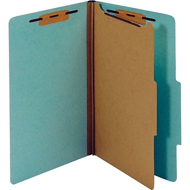 Staples® Colored Pressboard Classification Folders, Legal, 1 Partition, Light Blue, 20/Pack