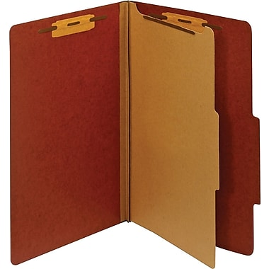 Staples® Colored Pressboard Classification Folders, 2/5 Cut Top Tab, 1 Partition, 20/Box (PU44REDSB)