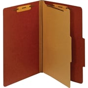 Staples® Colored Pressboard Classification Folders, Legal, 1 Partition, Red, 20/Pack