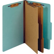 Staples® Colored Pressboard Classification Folders, 2/5 Cut Top Tab, 2 Partitions, 20/Box (PU64LBLSB)