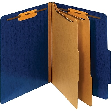 Staples® Moisture-Resistant Classification Folders, Letter, 2 Partitions, Dark Blue, 10/Pack