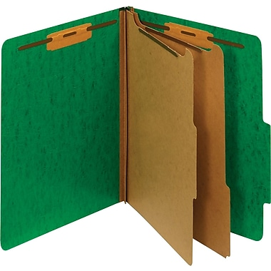 Staples® Moisture-Resistant Classification Folders, Letter, 2 Partitions, Green, 10/Pack