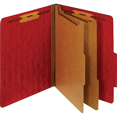 Staples® Moisture-Resistant Classification Folders, 2/5 Cut Top Tab, 2 Partitions, 10/Box (PU61MDREDSB)